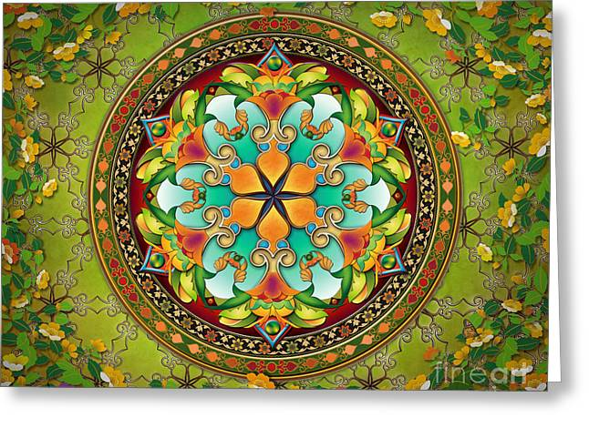 Bedros Awak Greeting Cards - Mandala Evergreen sp Greeting Card by Bedros Awak