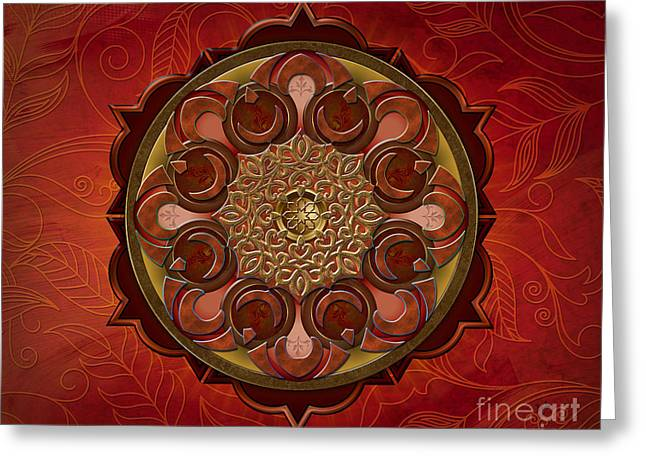 Burning Mixed Media Greeting Cards - Mandala Flames sp Greeting Card by Bedros Awak