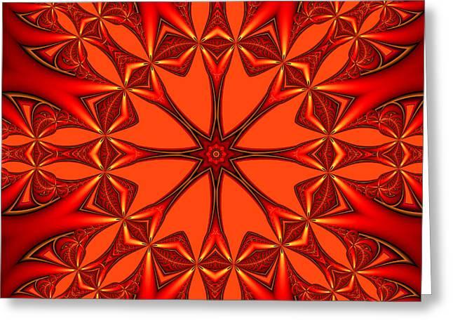 Shades Of Red Digital Art Greeting Cards - Mandala Greeting Card by Gabiw Art