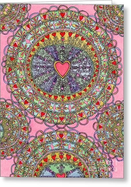 Occasion Drawings Greeting Cards - Mandala - Heart Filled Greeting Card by Mag Pringle Gire