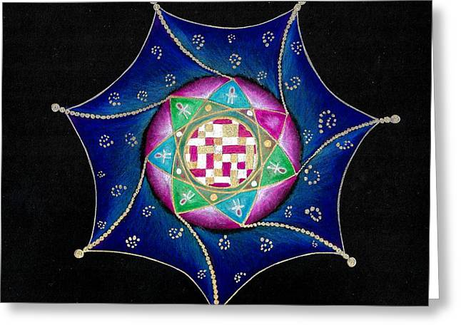 Horus Greeting Cards - Mandala Horus Greeting Card by Ellen Van der Molen