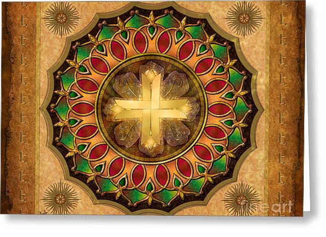 Byzantine Mixed Media Greeting Cards - Mandala Illuminated Cross sp Greeting Card by Bedros Awak
