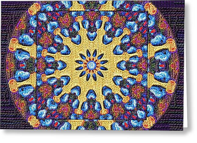 Tapestry Wool Greeting Cards - Mandala Knitting Greeting Card by Victor Gladkiy