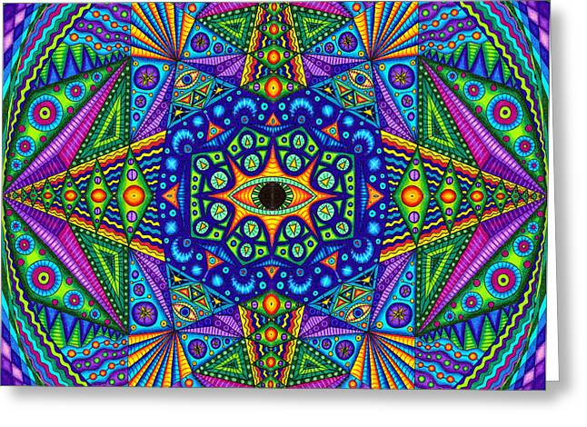 Pyramids Greeting Cards - Mandala Madness Greeting Card by Matt Molloy