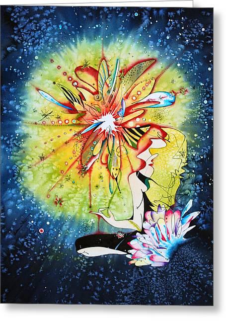 Observer Greeting Cards - Mandala observer Greeting Card by Zuzana Vass