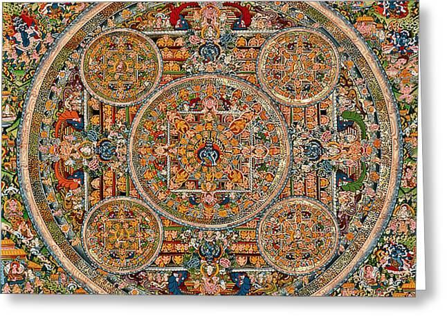 Mandala Of Heruka In Yab Yum And Buddhas Greeting Card by Lanjee Chee