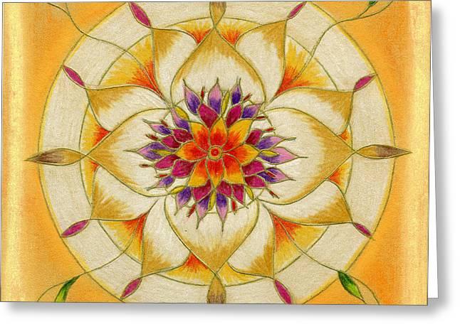 Mandalas Pastels Greeting Cards - Mandala of Love and Partnership Greeting Card by Sylwia Horosz
