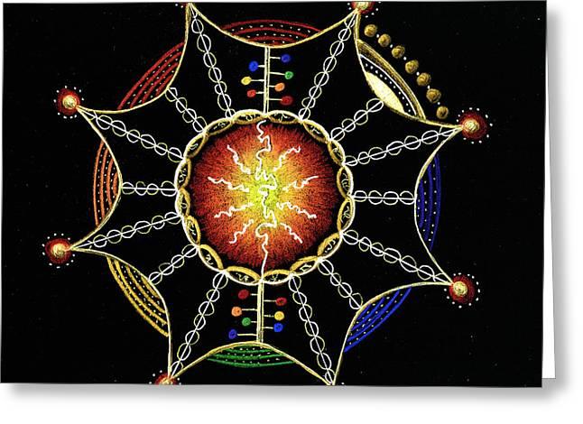 Omnipotent Greeting Cards - Mandala Omnipotent Embrace Greeting Card by Ellen Van der Molen