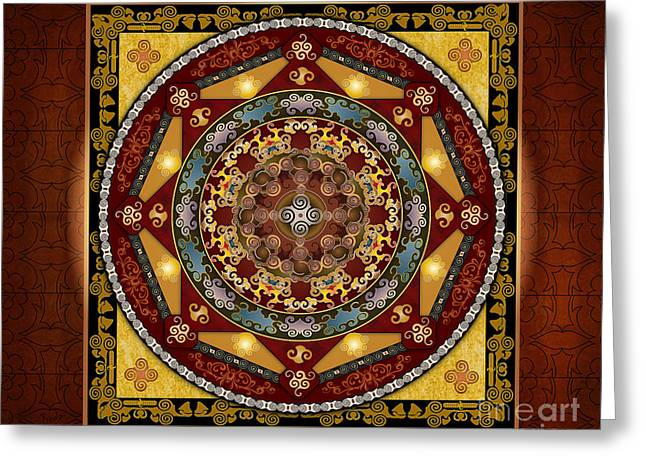 Energy Mixed Media Greeting Cards - Mandala Oriental Bliss sp Greeting Card by Bedros Awak