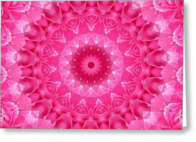 Metaphysics Greeting Cards - Mandala Peony Greeting Card by Sarah  Niebank