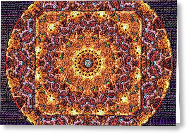 Tapestry Wool Greeting Cards - Mandala Poster Embroidery Greeting Card by Victor Gladkiy