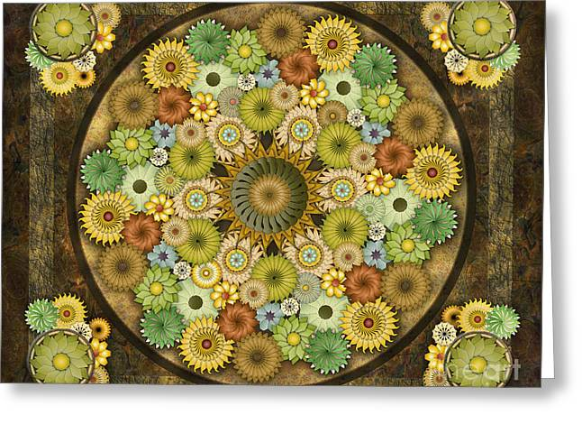 Treatment Mixed Media Greeting Cards - Mandala Stone Flowers sp Greeting Card by Bedros Awak