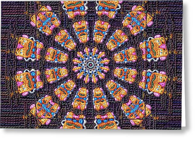 Tapestry Wool Greeting Cards - Mandala Symbols Fancywork Greeting Card by Victor Gladkiy