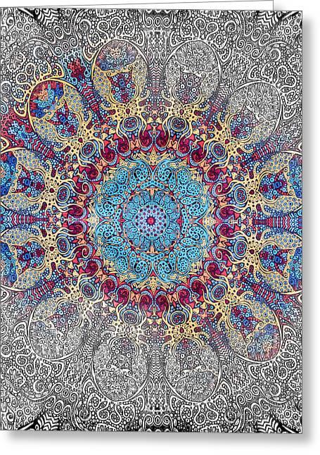 Asheville Mixed Media Greeting Cards - Mandalan Tapestry Greeting Card by John Haldane
