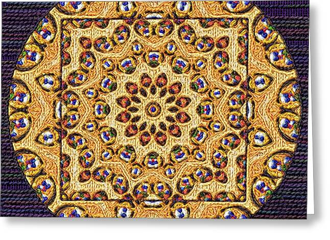 Tapestry Wool Greeting Cards - Mandalas Fancywork Greeting Card by Victor Gladkiy