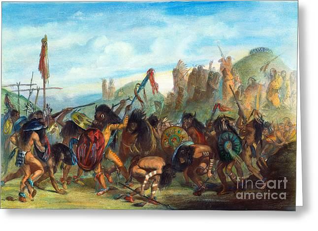 Medicine Man Greeting Cards - Mandan: Bison Dance, 1844 Greeting Card by Granger