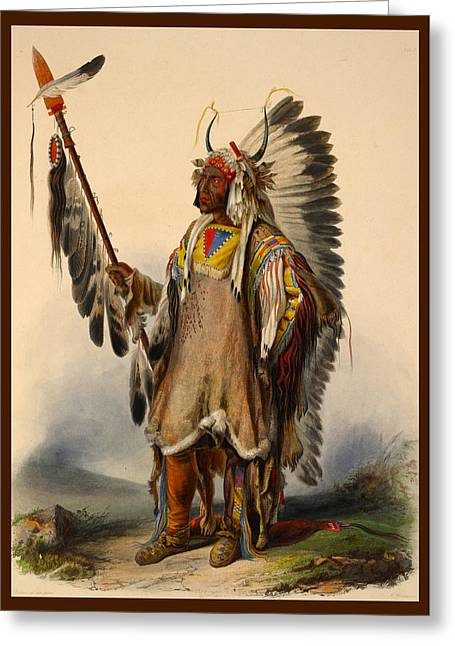 Jewelry Posters Greeting Cards - Mandan Cheif Greeting Card by Karl Bodmer