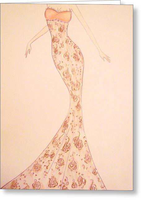 Ball Gown Greeting Cards - Mandarin Damask Gown Greeting Card by Christine Corretti
