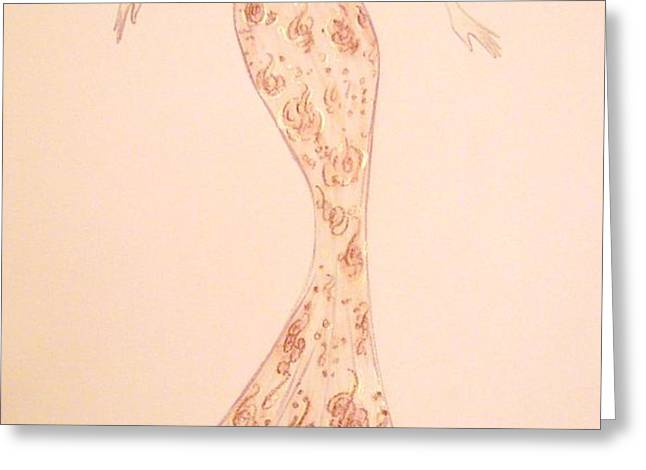 Mandarin Damask Gown Greeting Card by Christine Corretti