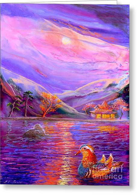 Glowing Water Greeting Cards - Mandarin Dream Greeting Card by Jane Small