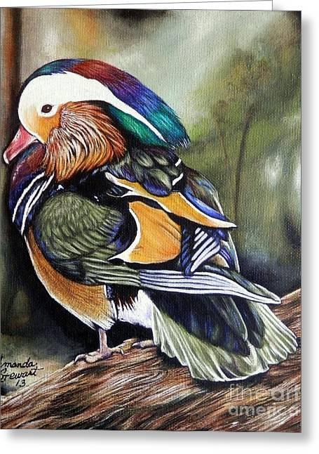 Mandarin Duck Greeting Card by Amanda Hukill