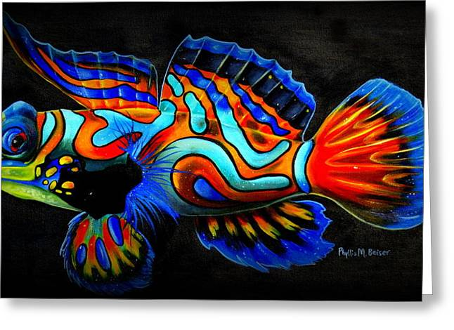 Aquarium Fish Greeting Cards - Mandarin Fish Greeting Card by Phyllis Beiser