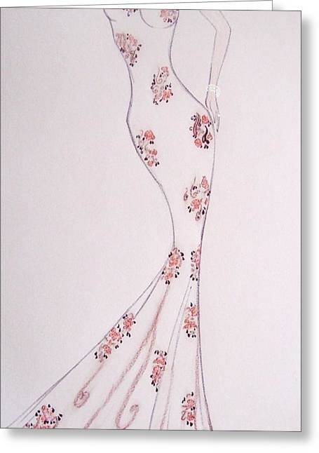 Spring Pastels Greeting Cards - Mandarin Floral Dress Greeting Card by Christine Corretti