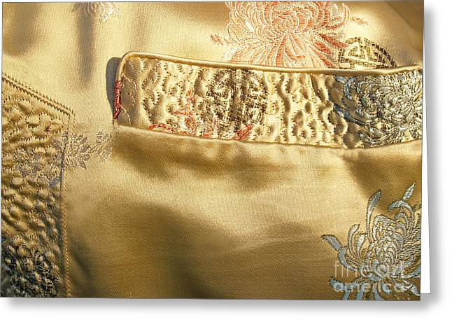 Gold Cloth Greeting Cards - Mandarin Silk Jacket - Pocket Detail Greeting Card by Anna Lisa Yoder