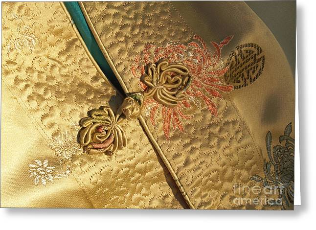 Button Closure Greeting Cards - Mandarin Silk Jacket with Frog Closure Greeting Card by Anna Lisa Yoder