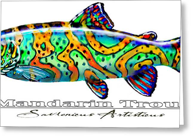 Trout Mixed Media Greeting Cards - Mandarin Trout Savlenicus Artisticus Greeting Card by Mike Savlen