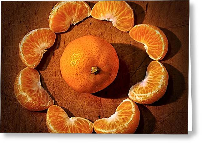 Orange. Greeting Cards - Mandarin - Vignette Greeting Card by Kaye Menner