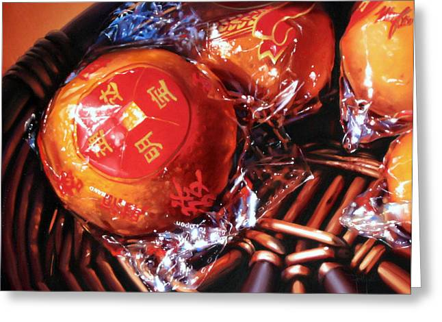 Dianna Ponting Greeting Cards - Mandarins in Cello Packets Greeting Card by Dianna Ponting