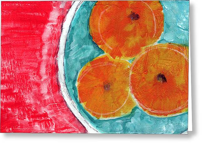 Interior Still Life Mixed Media Greeting Cards - Mandarins Greeting Card by Linda Woods