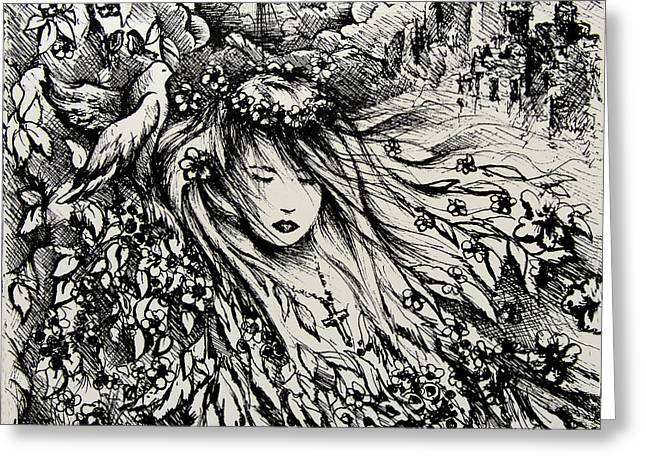 Born Again Drawings Greeting Cards - Mandees Dream Greeting Card by Rachel Christine Nowicki