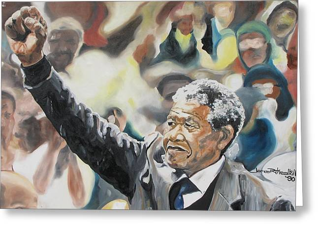 African-american Greeting Cards - Mandela Greeting Card by James R Threalkill