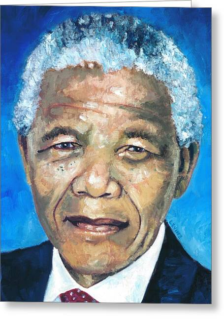 Democracy Paintings Greeting Cards - Mandela Portrait 1 Greeting Card by Alan Levine