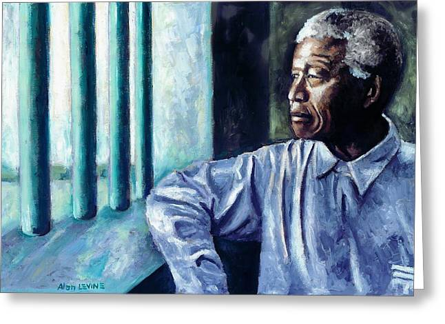 Terrorist Paintings Greeting Cards - Mandela - Robben Island Greeting Card by Alan Levine