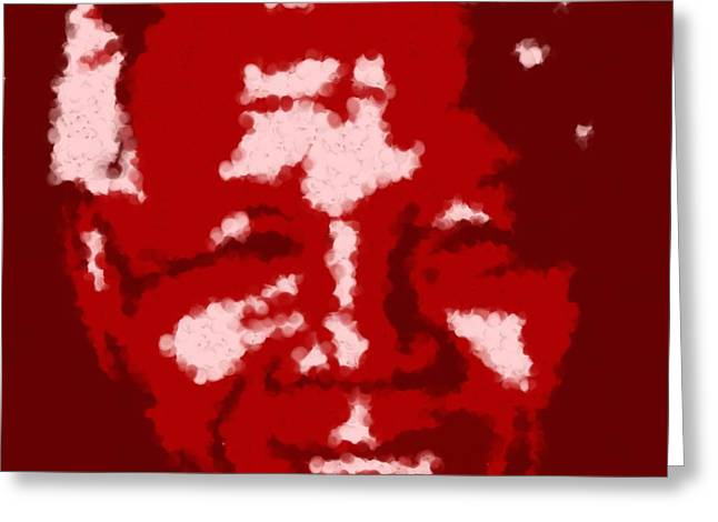 Asbjorn Lonvig Digital Art Greeting Cards - Mandela South African Icon  RED in the South African flag symbolizes the struggle for freedom Painti Greeting Card by Asbjorn Lonvig