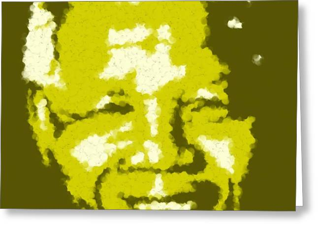 Asbjorn Lonvig Digital Art Greeting Cards - Mandela South African Icon  YELLOW in the South African flag symbolizes mineral wealth Painting Greeting Card by Asbjorn Lonvig