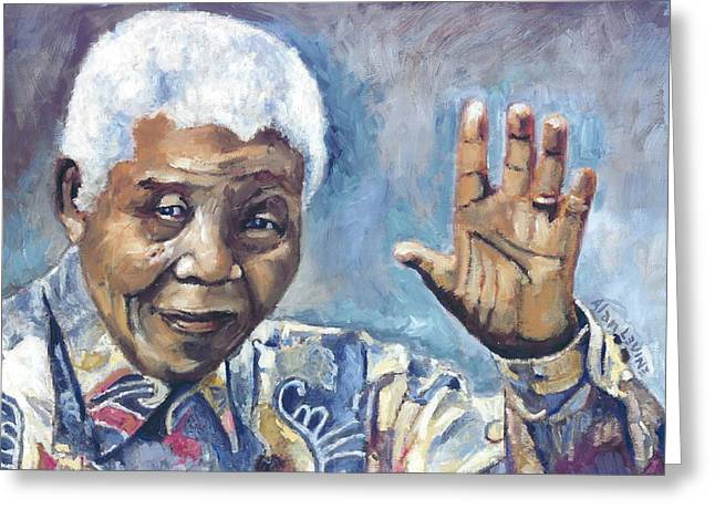 Terrorist Paintings Greeting Cards - Mandela - Waving Greeting Card by Alan Levine