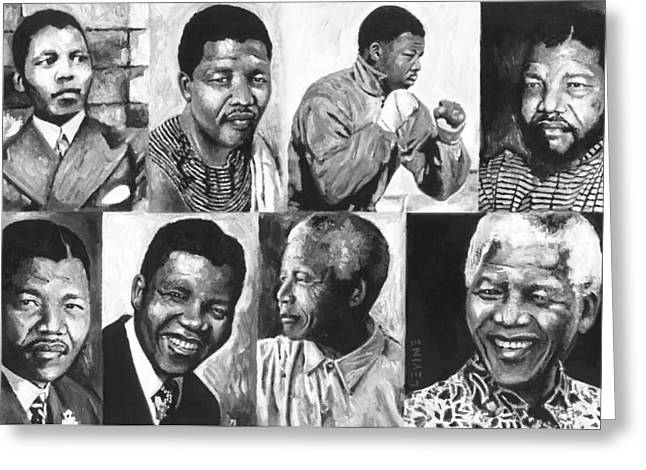 Democracy Paintings Greeting Cards - Mandela Youth 1 Greeting Card by Alan Levine
