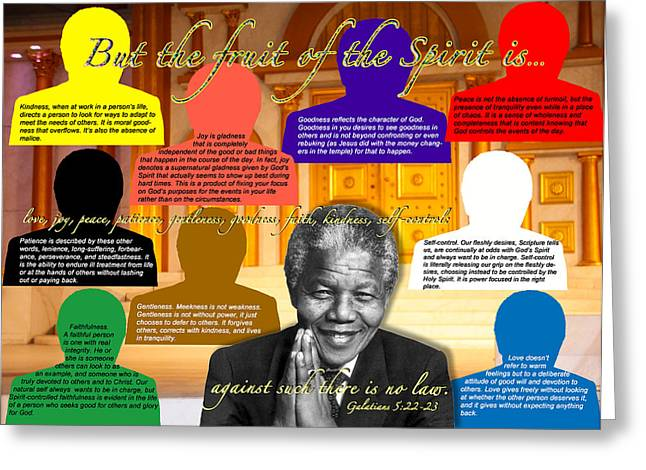Terry-wallace.artistwebsites.com Greeting Cards - Mandelas Rainbow With Scripture Greeting Card by Terry Wallace