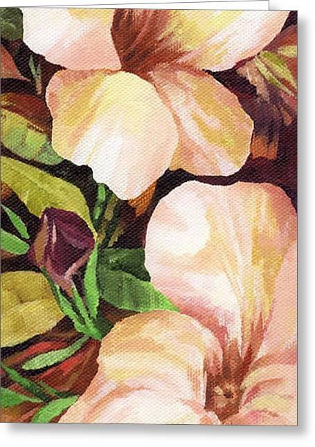 Olive Green Greeting Cards - Mandevilla Greeting Card by Natasha Denger
