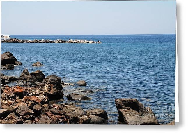 Mandraki Greeting Cards - Mandraki coastline Nisyros Greeting Card by David Fowler