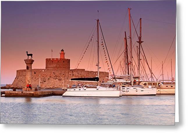 Mandraki Greeting Cards - Mandraki Harbour Greeting Card by Ollie Taylor