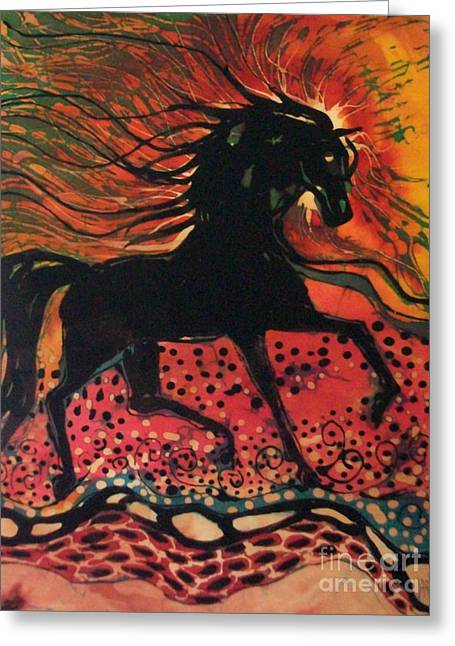 Equine Tapestries - Textiles Greeting Cards - Mane in Autumn Light Greeting Card by Carol Law Conklin