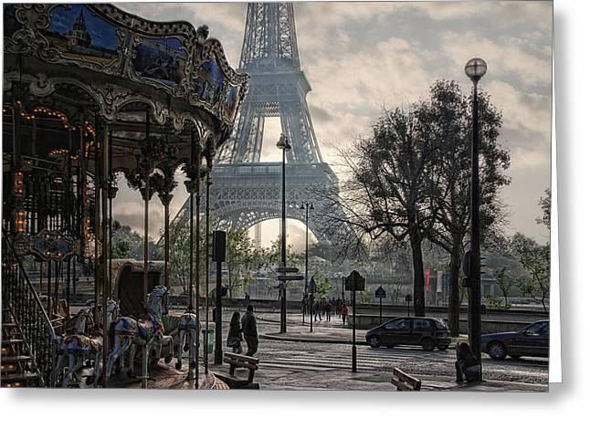 Parisienne Greeting Cards - Manege Parisienne Greeting Card by Joachim G Pinkawa