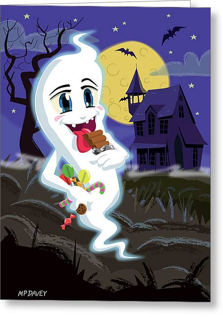 Haunted House Digital Art Greeting Cards - Manga Sweet Ghost at Halloween Greeting Card by Martin Davey