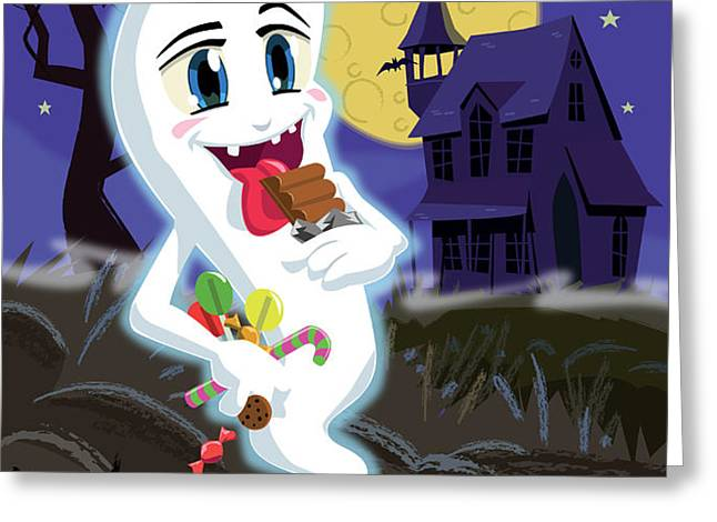 Manga Sweet Ghost at Halloween Greeting Card by Martin Davey