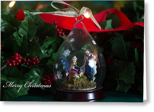 Christmas Greeting Greeting Cards - Manger Ornament Greeting Card by Darrell Hutto